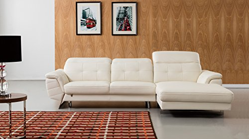 "American Eagle Furniture EK-L085L-W Kentucky Modern Italian Leather Right Facing Sectional, 114"", White"