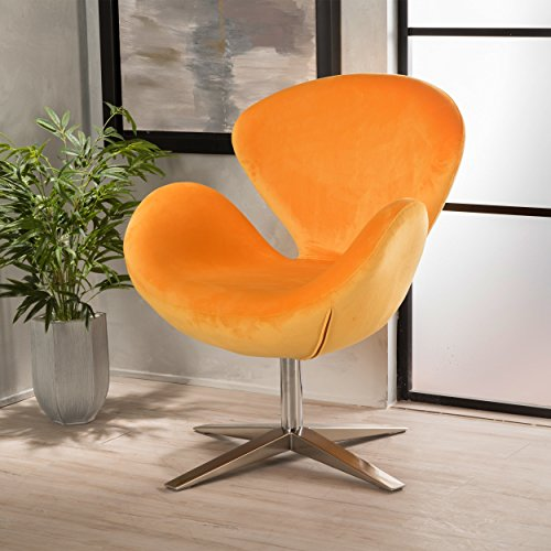 Modern Velvet Swivel Petal Chair, Stainless Steel, Chrome Base Finish, Swivels 360 Degrees, Soft and Contemporary, Weighs 25 Pounds, Sturdy Frame, Light Assembly Required, Vibrant Multiple Colors