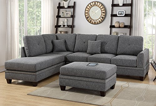 Poundex Y651115 Bobkona Anondale Sectional Set, Ash Black
