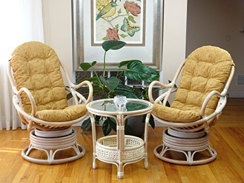3 PC Java Swivel Rocking Chair Natural Handmade Rattan Wicker Set: 2 Lounge Arm Chairs with Dark Brown Cushions and Coffee Table, Colonial