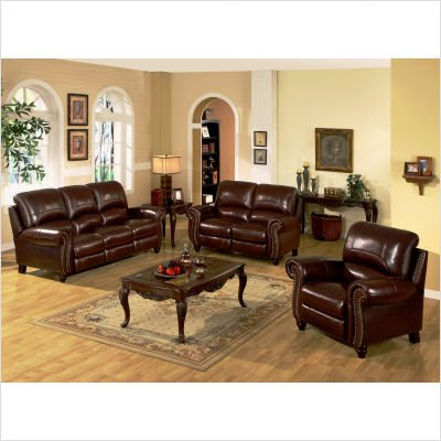 Abbyson Herzina Leather Reclining Loveseat in Burgundy