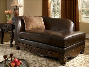 Ashley North Shore Leather Right Chaise Lounge in Dark Brown