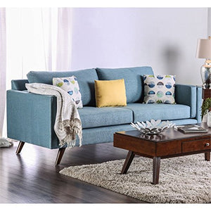 Furniture of America Sile Fabric Sofa in Sky Blue