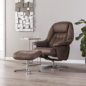 Furniture HotSpot – Recliner and Ottoman (Brown)