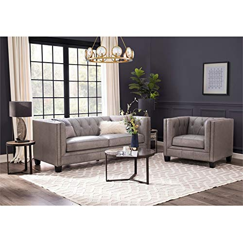 BOWERY HILL Leather Chesterfield Sofa in Grey