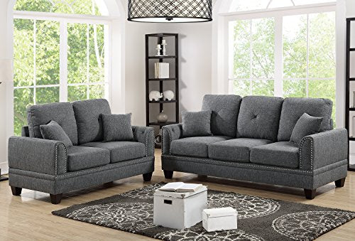 Poundex F6507 Bobkona Bailey Sofa & Loveseat, Ash Black