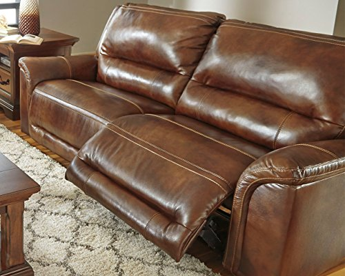 Ashley Furniture Signature Design - Jayron 2 Seat Recliner Sofa - Pull Tab Manual Reclining - Contemporary - Harness Brown
