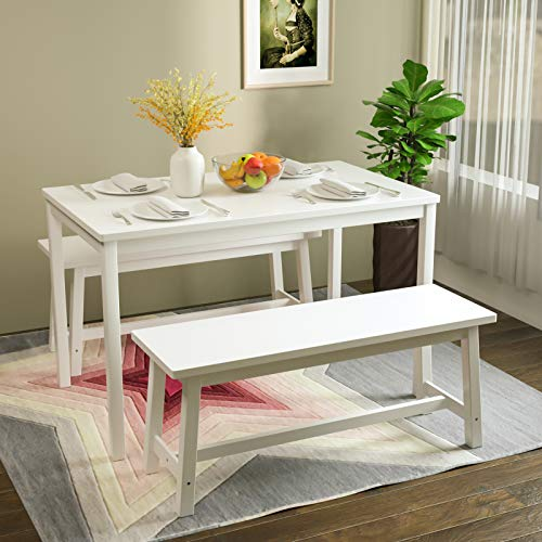 Mecor 3-Piece Dining Set Table with 2 Benches, Solid Pine Wood Tabletop and Benches for Home Kitchen Dining Room Furniture (White)
