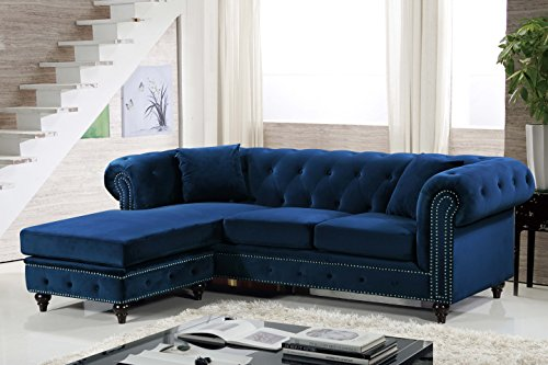 Meridian Furniture 667Navy-Sectional Sabrina Reversible 2 Piece Button Tufted Velvet Sectional with Scroll Arms, Nailhead Trim, and Custom Wood Legs, Navy