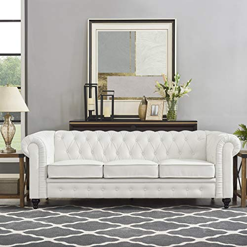 Naomi Home Emery Chesterfield Sofa with Rolled Arms, Tufted Cushions White