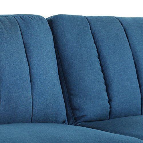 Giantex Futon Sofa Bed Folding Couch Convertible Mattress Premium Linen Upholstery and Wooden Legs (Blue)