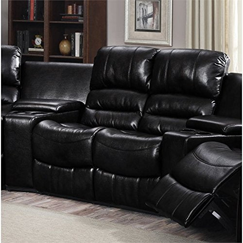 Pemberly Row Bonded Leather Reclining Loveseat in Black