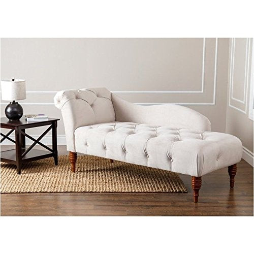 BOWERY HILL Tufted Velvet Chaise Lounge in Ivory