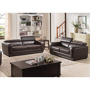 AC Pacific Christies Home Living Calvin Brown Modern Leather 2-Piece Sofa and Love Seat Living Room Collection