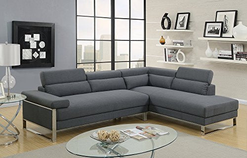Benzara BM166702 Polyphaser 2 Piece Sectional Sofa On Metal Base, Charcoal Gray