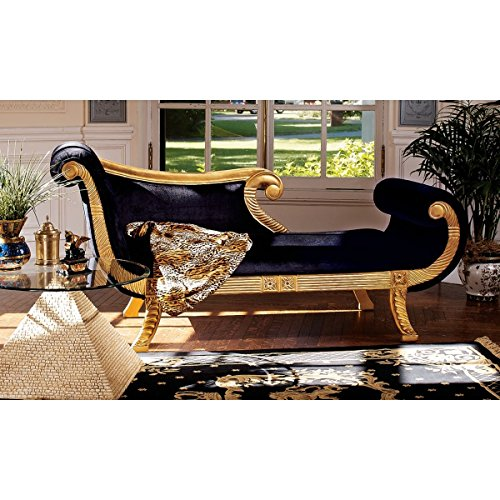 Design Toscano Cleopatra Neoclassical Chaise, Black and Gold