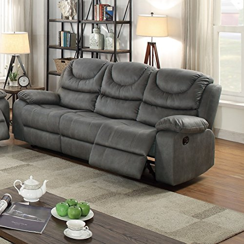 Modern Contemporary Living Room 3pc Motion Sofa Set Slate Grey Leatherette  Plush Sofa Loveseat Recliner