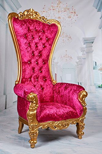 "Tiffany Royal High Back Throne Chair, King/Queen Wedding Throne Chair, Party Rental, Model Photo Shoot, Home Furniture - Gold Finish - 70"" H"