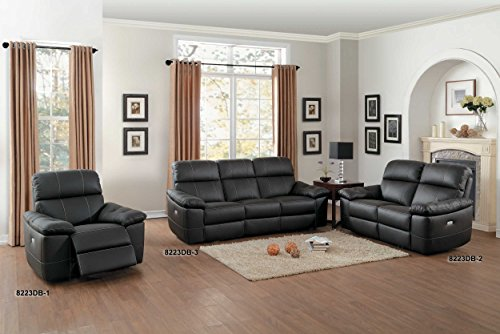 Homelegance Nicasio Contemporary All Genuine Leather Power Reclining Sofa, Brown