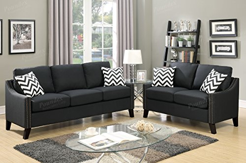 2Pcs Modern Black Linen-Like Fabric Sofa Loveseat Set with Sloped Arms Trimmed in Nickel Finished Studs