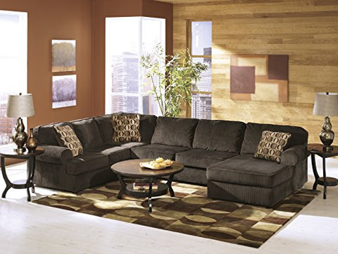 Vista Contemporary Chocolate Color Fabric Right Chaise Sectional Sofa
