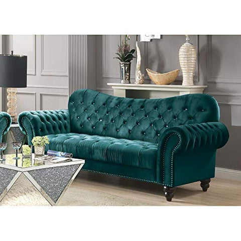 Mid Century Tufted Velvet Sectional Sofa Couch, Modern Diamond Tufted Upholstered Velvet Sofa with Rolled Wooden Legs, Luxury Vintage Tufted Velvet Living Room Sofa Couch Ship in USA Warehouse (Blue)