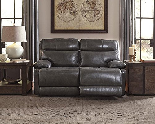 Ashley Furniture Signature Design - Palladum Reclining Loveseat - Sleek Contemporary Recliner - Metal Gray