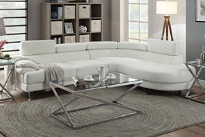 2PCS White Bonded Faux Leather Sectional Sofa Set White Color