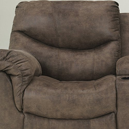 Alzena Contemporary Gunsmoke Faux-leather Reclining Sofa And Loveseat w/Console
