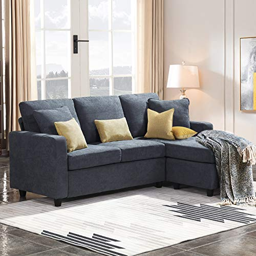 HONBAY Convertible Sectional Sofa Couch Small L Couch with Reversible Chaise Linen Fabric Sofa for Small Space Bluish Grey