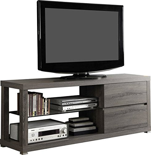 "60"" TV Stand in Dark Taupe 2 Large Storage Drawers 2 Display Shelves Modern Thick Panel Design Reclaimed Wood-look"