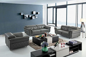 Limari Home Hansel Collection Modern Tufted Leather Couch And Sofa Set for the Living Room With Sofa Loveseat and Chair, Gray