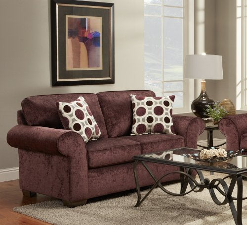 Roundhill Furniture Fabric Loveseat with 2 Pillows, Prism Elderberry