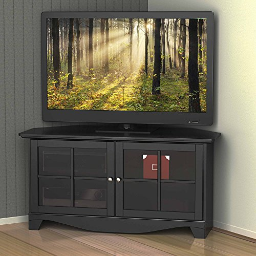 Double Door Corner Tv Stand Media Center, Tempered Glass Doors, Adjustable Shelves, Wire Managment, Space Saving Design, Perfect For Living Room, Bedroom, Practical Furniture + Expert Guide