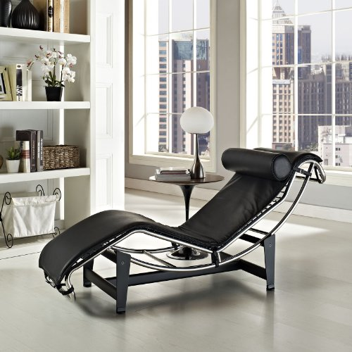 Modern Contemporary Leather Chaise Black