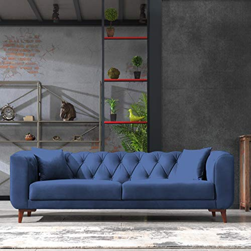 Mare Collection Lyra Mid-Century Modern Tufted Chesterfield 3 Seater Sofa Starry Night Blue
