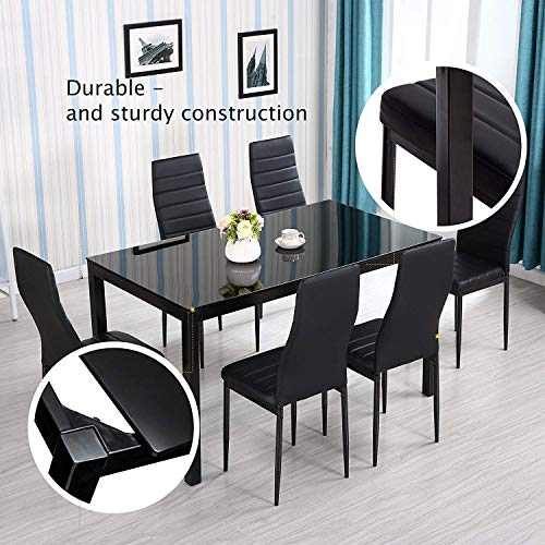 Mecor 7-Piece Glass Kitchen Dining Table Set, Glass Top Table with 6 Faux Leather Chairs Breakfast Furniture,Black