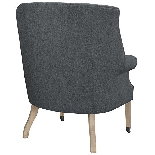 Hawthorne Collections Upholstered Accent Chair with Casters in Gray