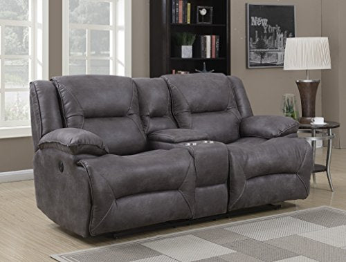 MStar Everly Lay Flat Dual Power Reclining Loveseat with Storage Console, USB Charging Ports and Memory Foam Seat Toppers