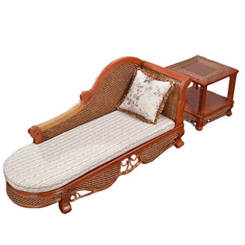 Sungao Natural bamboo - rattan wicker chaise lounge chair set/longuer / recliner/reclining chair suite/seat / settee/seater / couch/chair / coffee table/tea table/teapoy / side table/end table