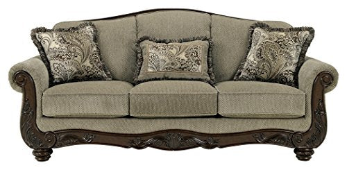 Ashley Furniture Signature Design - Martinsburg Sofa - Traditional Couch - Meadow with Brown Base