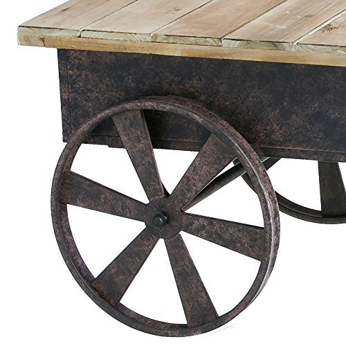 Cape Craftsmen Vintage Wood Plank Metal Cart Coffee Table