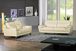 Cortesi Home Phoenix Genuine Leather Sofa & Loveseat Set, Cream