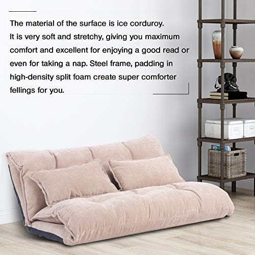 Merax Sofa Bed Adjustable Sleeper Bed Chair Folding Futon Couch Video Gaming Chair Lounge Sofa with Two Pillows (Beige White)