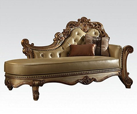 ACME Vendome Gold Patina Chaise with 2 Pillows