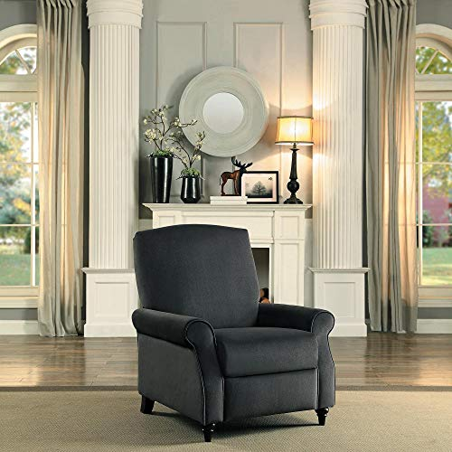 Walburn Push Back Recliner Chair in Grey Fabric