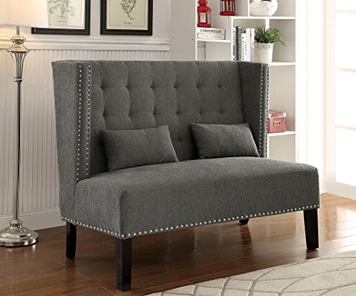 Furniture of America Alexa Modern Upholstered Love Seat, Gray
