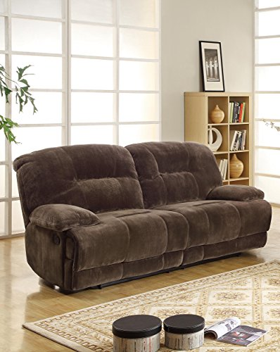 Homelegance 9723-3 Double Reclining 2-Seater Sofa, Dark Brown, Textured with Plush Microfiber