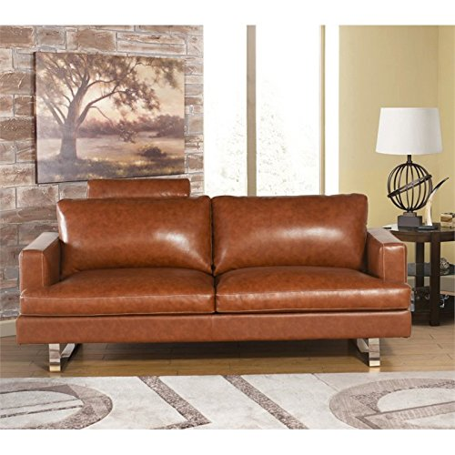 Abbyson Living Norris 2 Piece Top Grain Leather Sofa Set in Camel