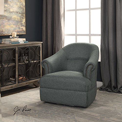 Uttermost 23456 Tuloma Transitional Steel Blue Swivel Accent Chair